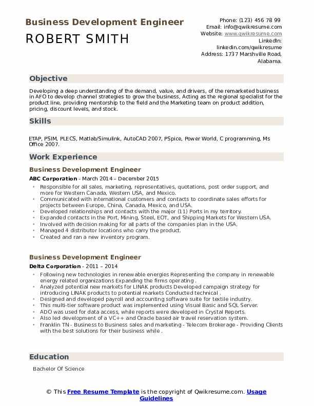 Business Development Engineer Resume