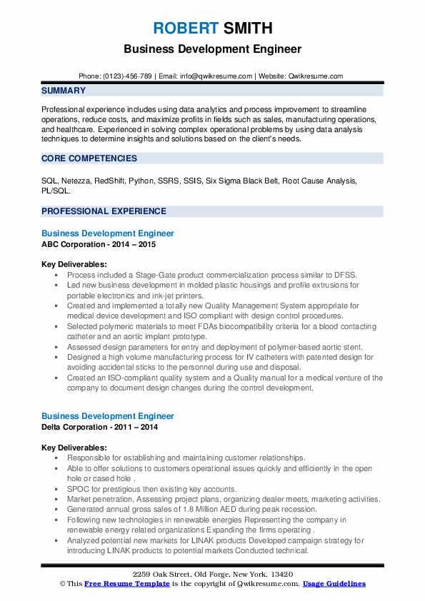 Business Development Engineer Resume .Docx (Word)