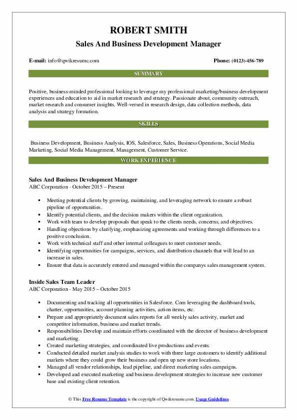 Sales And Business Development Manager Resume .Docx (Word)