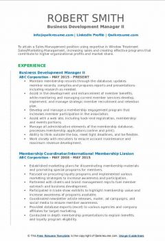 Business Development Manager II Resume .Docx (Word)