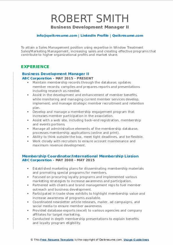 Business Development Manager II Resume