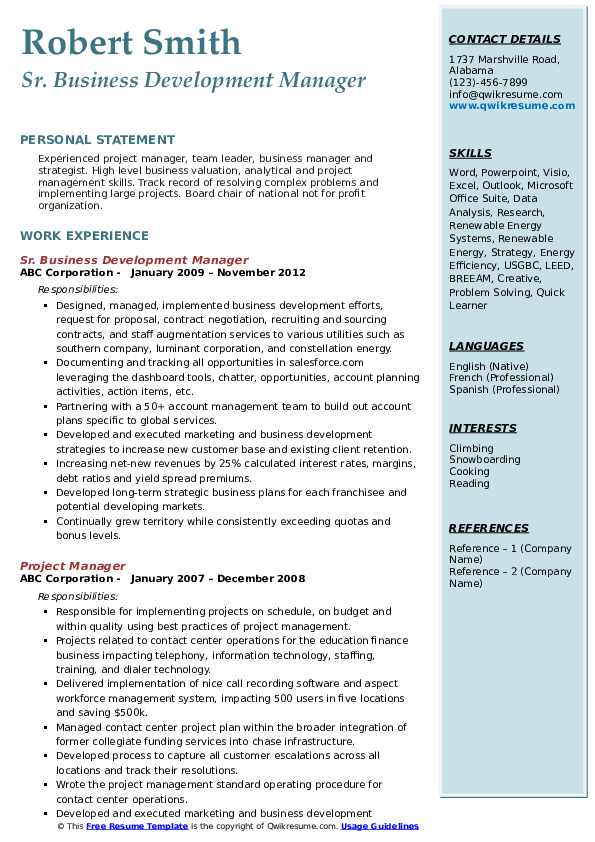 Sr. Business Development Manager Resume .Docx (Word)