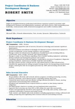 Project Coordinator & Business Development Manager Resume .Docx (Word)