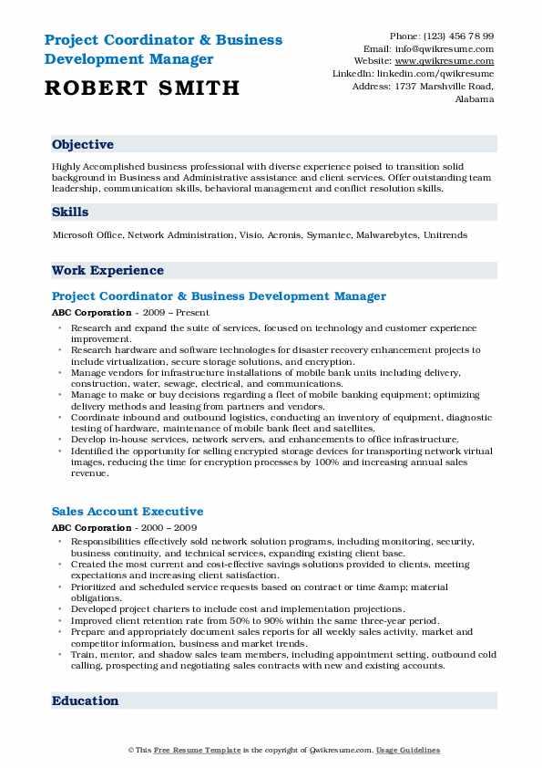 Project Coordinator & Business Development Manager Resume