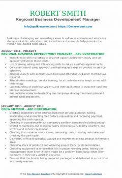 Regional Business Development Manager Resume .Docx (Word)