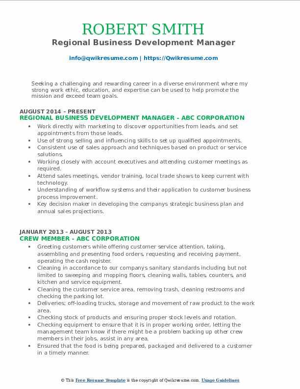 Regional Business Development Manager Resume