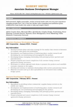 Associate Business Development Manager Resume .Docx (Word)