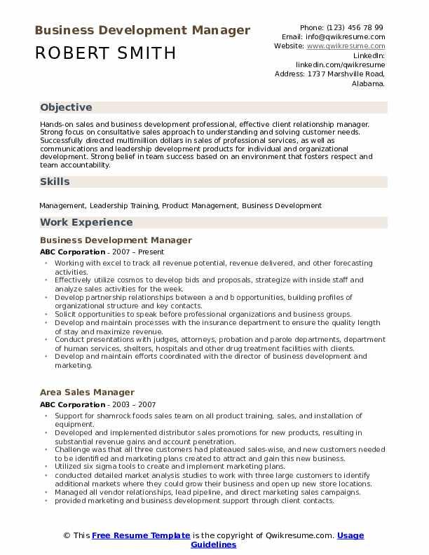 Business Development Manager Resume