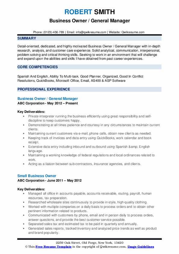 Business Owner / General Manager Resume .Docx (Word)