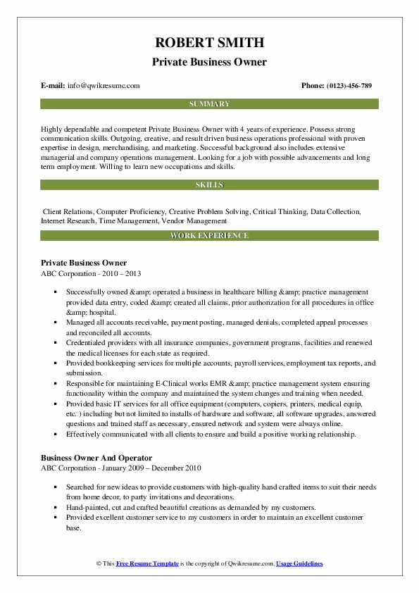 Private Business Owner Resume .Docx (Word)