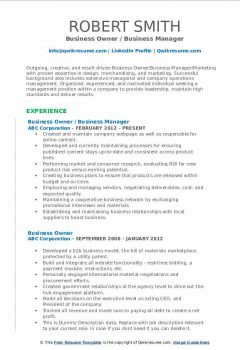 Business Owner / Business Manager Resume .Docx (Word)