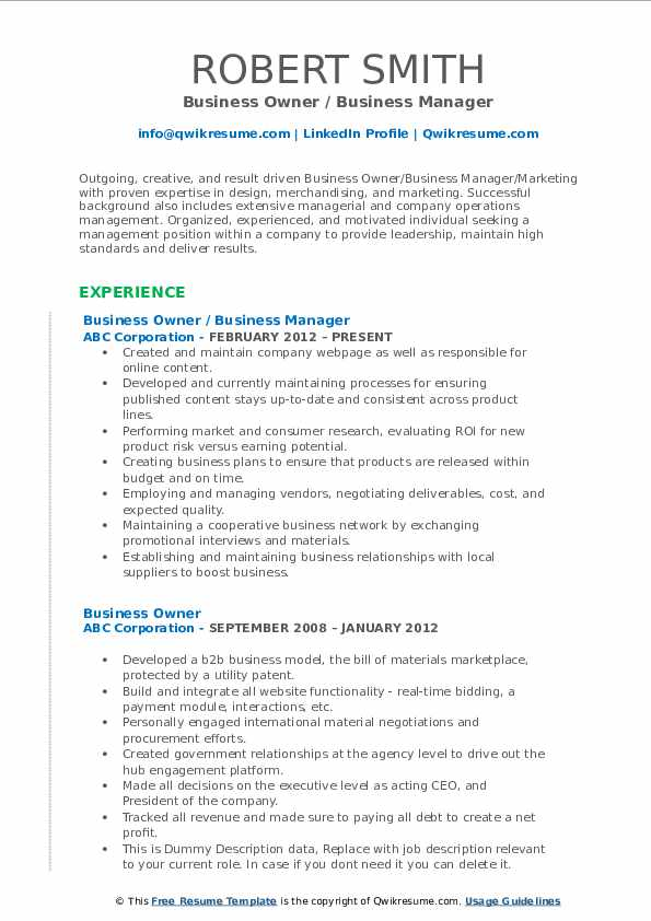 Business Owner / Business Manager Resume