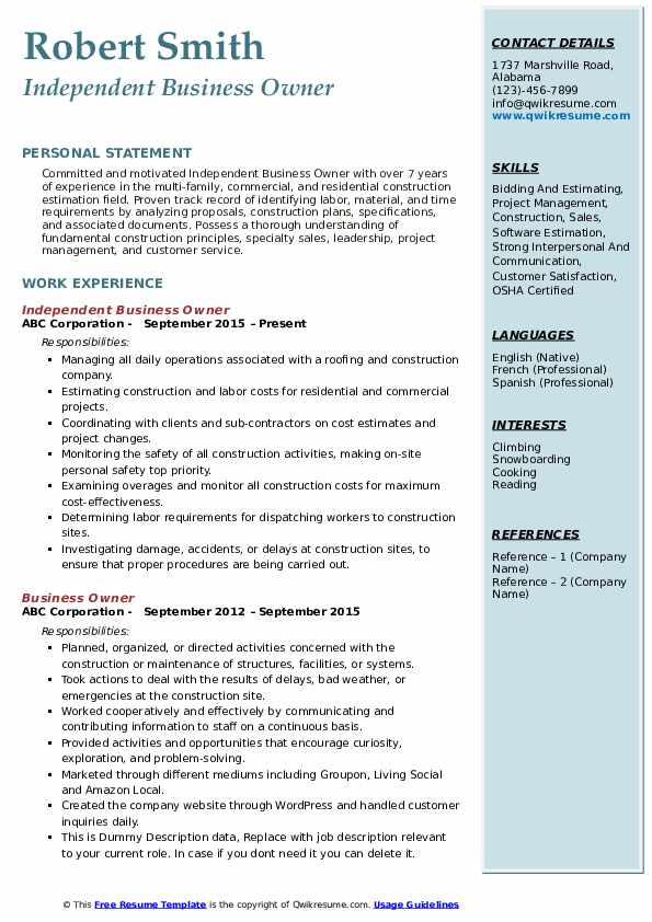 Independent Business Owner Resume .Docx (Word)