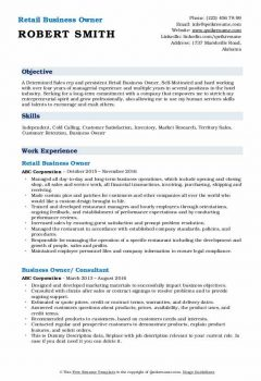 Retail Business Owner Resume .Docx (Word)