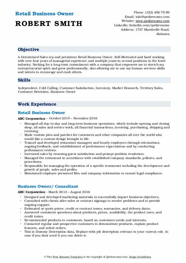 Retail Business Owner Resume
