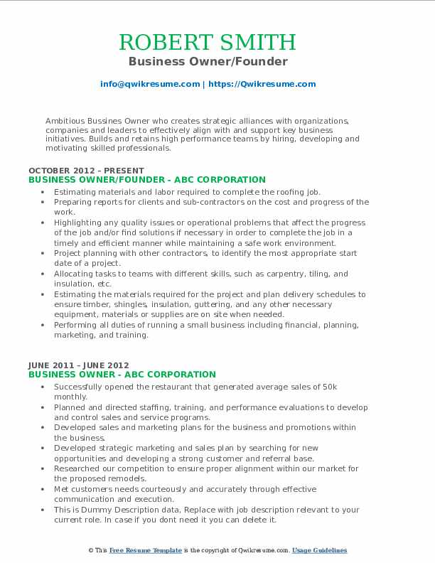 Business Owner/Founder Resume .Docx (Word)