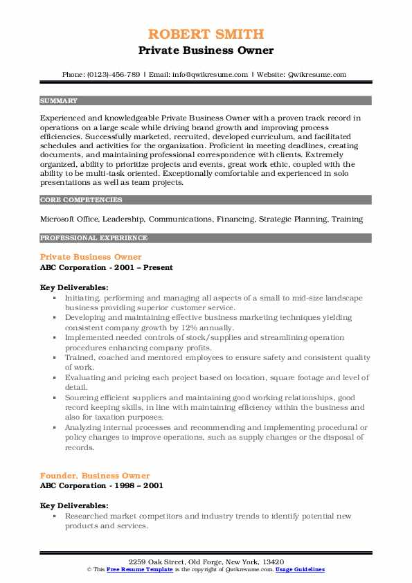 Private Business Owner Resume
