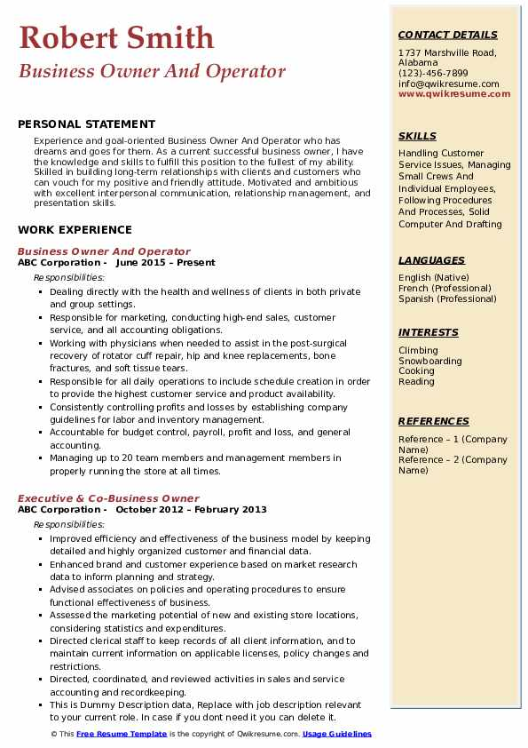 Business Owner And Operator Resume .Docx (Word)