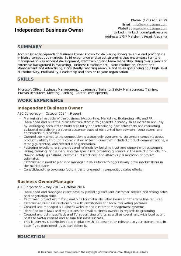 Independent Business Owner Resume