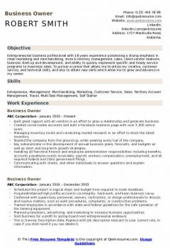Business Owner Resume .Docx (Word)
