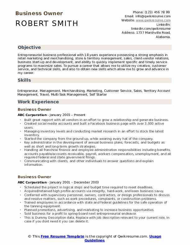 Business Owner Resume