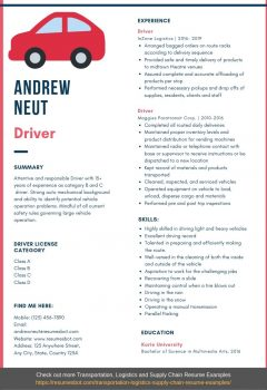 driver resume example .Docx (Word)