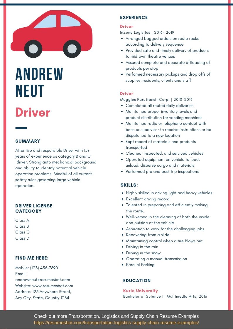driver resume example