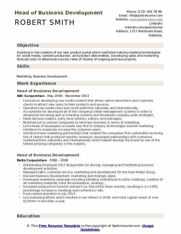Head of Business Development Resume