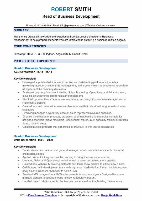 Head of Business Development Resume .Docx (Word)