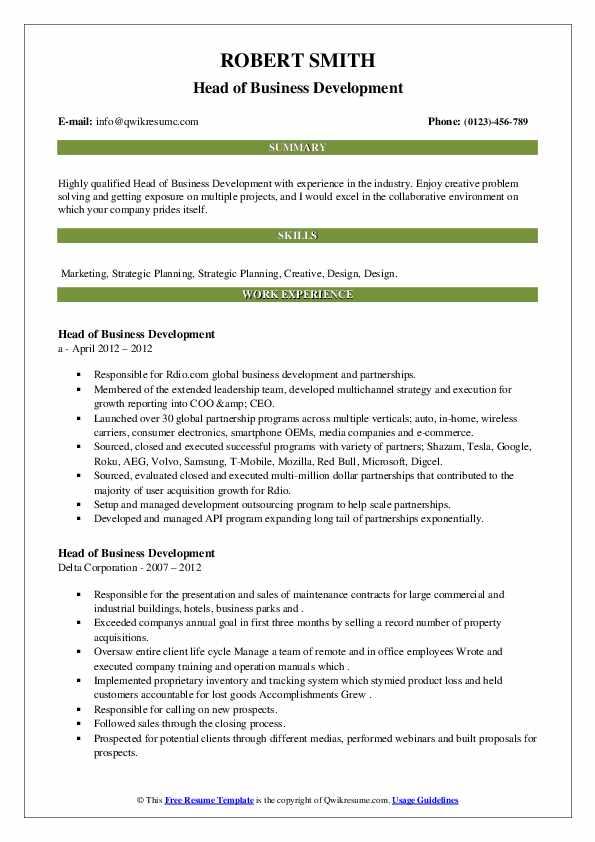 Head of Business Development Resume2