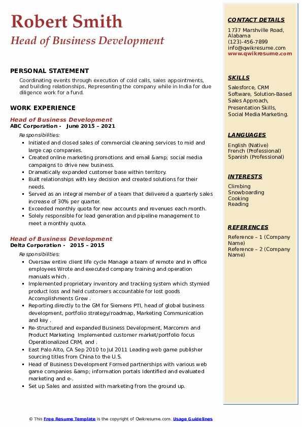Head of Business Development Resume8