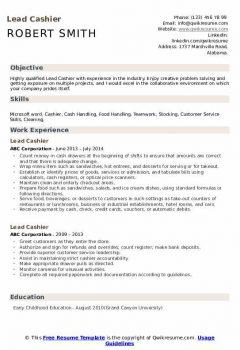 Lead Cashier Resume .Docx (Word)