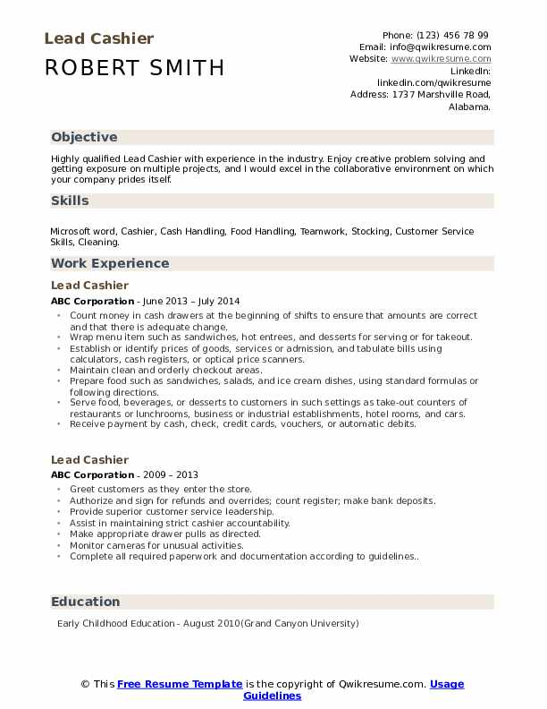 Lead Cashier Resume