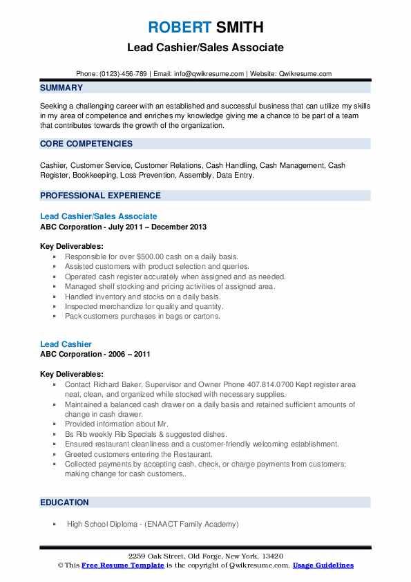 Lead Cashier/Sales Associate Resume