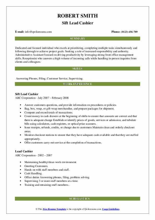 Sift Lead Cashier Resume