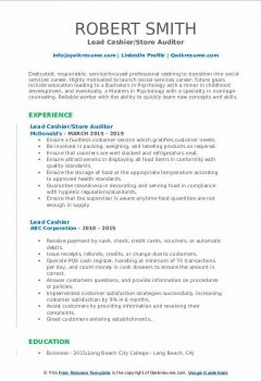 Lead Cashier/Store Auditor Resume > Lead Cashier/Store Auditor Resume .Docx (Word)