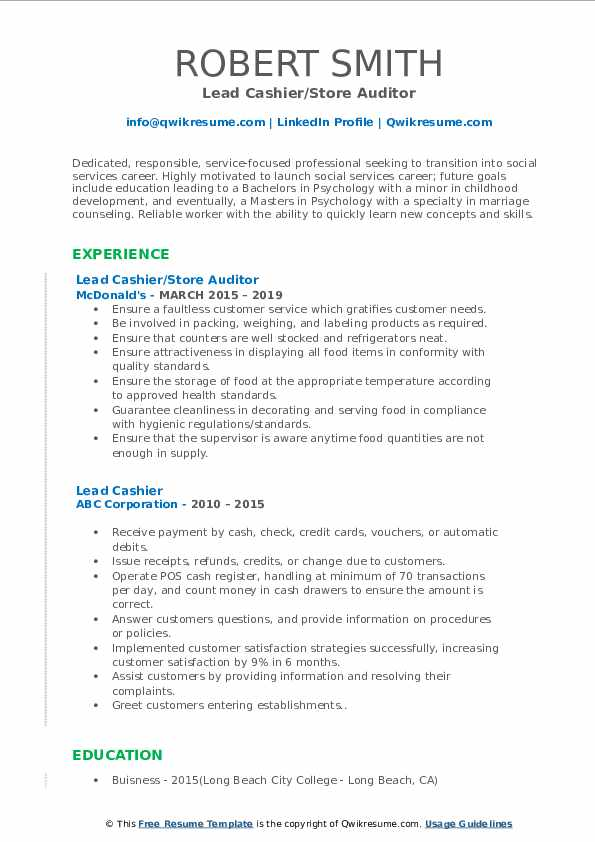 Lead Cashier/Store Auditor Resume .Docx (Word)