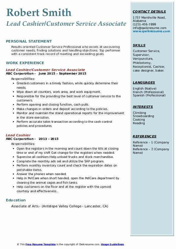 Lead Cashier/Customer Service Associate Resume .Docx (Word)