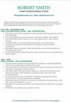 Lead Cashier/Sales Clerk Resume > Lead Cashier/Sales Clerk Resume .Docx (Word)
