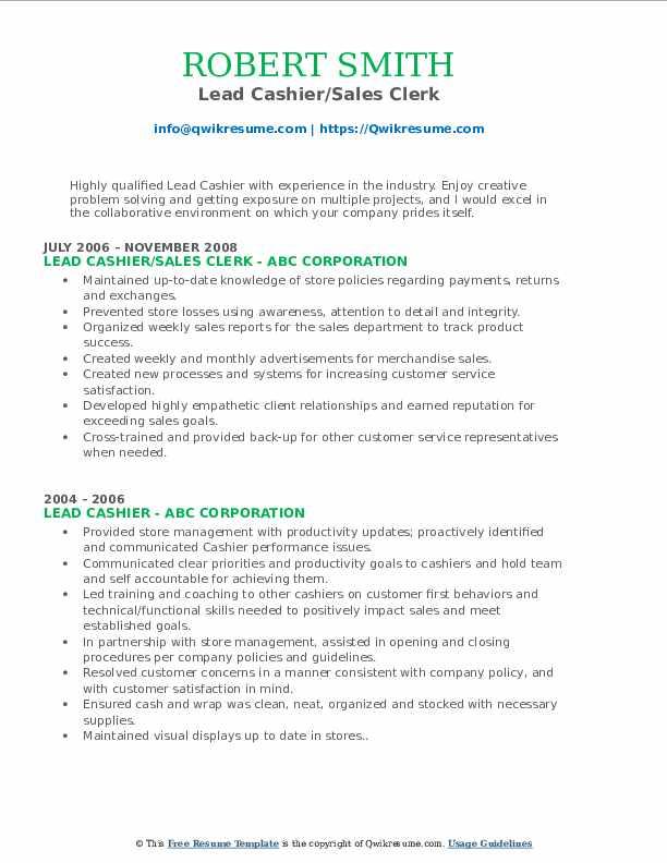 Lead Cashier/Sales Clerk Resume
