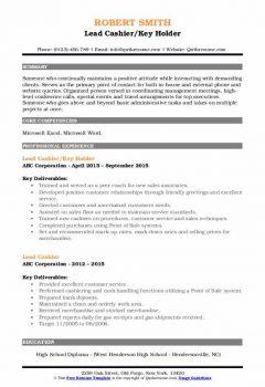 Lead Cashier/Key Holder Resume > Lead Cashier/Key Holder Resume .Docx (Word)