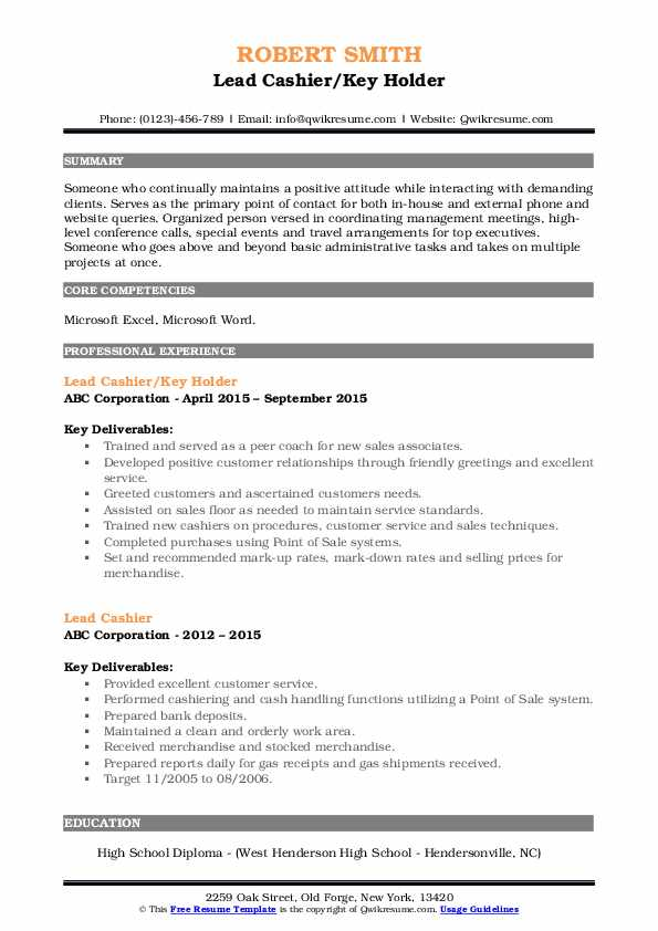 Lead Cashier/Key Holder Resume