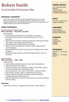 Lead Cashier/Customer Rep Resume > Lead Cashier/Customer Rep Resume .Docx (Word)
