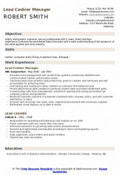 Lead Cashier Manager Resume > Lead Cashier Manager Resume .Docx (Word)