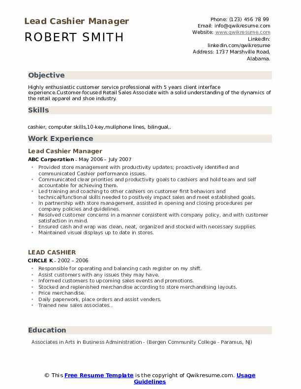 Lead Cashier Manager Resume