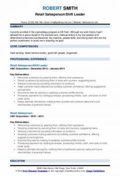 Retail Salesperson/Shift Leader Resume