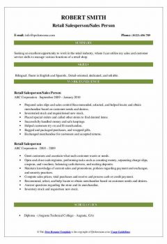 Retail Salesperson/Sales Person Resume