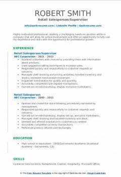 Retail Salesperson/Supervisor Resume