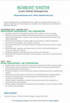 Junior Retail Salesperson Resume