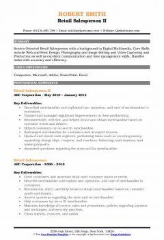 Retail Salesperson II Resume